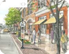 A diagram of a vibrant street complete with boutique shops and pedestrians