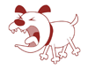 A cartoon image of a barking dog