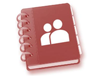 A diagram of a coiled notebook with an icon of two people on the cover
