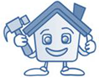 A cartoon image of a house holding a hammer and giving a thumbs up