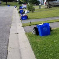 Garbage and recycling at the curb