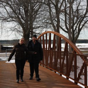 Waterfront Way Trail users on bridge